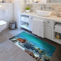 Wholesale Turtle Wall Decals Removable - Slip-proof Sea fish and turtle Floor Sticker Ome Decal Pastoral Mural Wall Art Pastoral Poster Bathroom 3D effect Floor Stickers