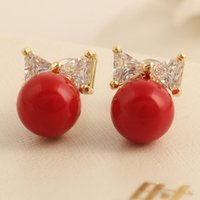 Tienda De Celosía Baratos-XS Red Pearl Shell Powder Pearl Pendientes Stud Pendientes Wholesale <b>Lattice Shop</b> Supplies B1738