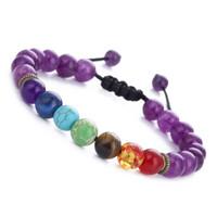 Wholesale Handmade Stretch Bracelets - New design stretch bead bracelets chakra energy stone handmade bracelets tiger eye adjustable weaving yoga bracelets