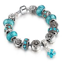 Wholesale Bohemian Retro - 2016 Classical Retro DIY Charm Bracelet Crystal and Alloy Bead Silver Plated Bracelet Women Jewelry SL51