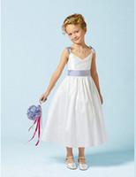 детские ремешки оптовых-Новый цветок девушка платья спагетти ремни Причастие бал Pageant платье для свадьбы маленькие девочки дети / дети платье