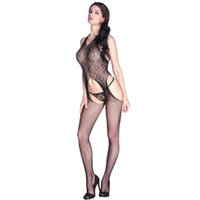 Wholesale Christmas Lingerie Stockings - Sexy Women Sheer Lingerie Hot Bodysuit Mesh Crotchless Body Stocking Halter Cut Out Babydoll Tights Underwear Nightwear Black