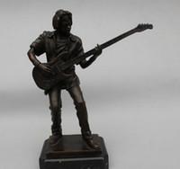 "Wholesale Antique Carved Boy - Copper Brass 12"" Art sculpture Bronze Copper Marble Guitarist Guitar Boy Statue"