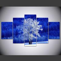 mavi arka planlar toptan satış-2017 Koştu Beyaz Ağacı Mavi Arka Plan 5 Paneller HD Tuval Baskı Oturma Odası Duvar Sanatı Resim Boyama IM-265