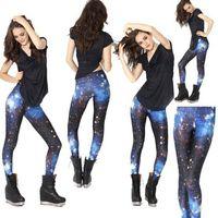mavi süt tozlukları toptan satış-Toptan-Artı Boyutu 2017 Yeni Kadın Seksi Evren Galaxy Mavi Baskılı Tayt Pantolon Esneklik Moda Uzay Batik Süt Ipek