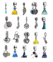 Wholesale Pendant Loose Beads - Wholesale Mixed Loose Silver Beads Charm EnamelAnna Belle Cinderella Essar Dress Pendant Beads Fit Women Pandora Bracelet Bangle Diy Jewelry