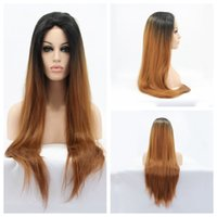 Cosplay Loira Brown Ombre Peruca Longa Straight Cheap Mulheres Perucas Sintéticas Front Lace Cabelo Preto para 27 # 30 # Para Branco / Preto Mulheres