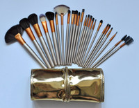 Wholesale Gold 24 Set - HOT Makeup Brushes 24 piece Professional Brush sets Nude 3 + gold package+gift free shipping