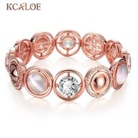 Wholesale Bracelet Cristal - Wholesale- Wedding Elastic Bracelet Cristal Bracelet For Women Pink Classic Natural Opal Bracelet Rose Gold Plated Titanium Chain Bracele