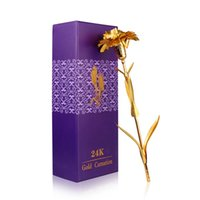 Wholesale Gold Carnation - 24K Gold Plated Carnation Flower Best Mother Day Gift With Beautiful Box For Women Girl Present And Home Decoration WA1436