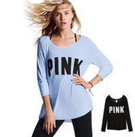 Wholesale lantern sleeve blouse - Women PINK Letter Print T Shirt Tops Long Sleeve Fashion Tee Casual Long Sleeve Shirt Tops Blouse Sportswear LJJK727