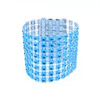 hebillas de anillos al por mayor-Al por mayor-Nuevo 10Pcs / lot Azul plástico Rhinestone Wrap Servilletero Servilleta Hotel Boda Suministros Estilo Europeo Home Chair Decoration