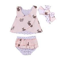 Wholesale Polka Dots Outfits - 2017 Summer Kids Clothing Baby Girls Outfits Infant Clothes Sleeveless Chest Cross + Polka Dot Shorts + Headband 3PCS Girls Clothing Sets