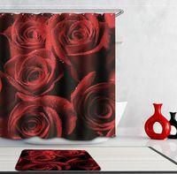 Wholesale Girls Bathroom Accessories - Bath Shower Curtain Home decor bathroom Accessories Villa With Rose Printing and Fashion Girl Waterproof Bath Curtain