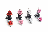 Wholesale Mini Rhinestone Hair Clips - Wholesale 100pcs Crystal Open Rose Flower Mini Hair Claw Clip Hair Clamp Grip