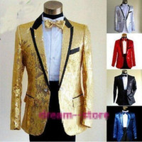 Wholesale Sequin Tuxedo Jacket Men - Wholesale- New Mens Boys Bling Sequins Tuxedo Suit Gangnam Style Jacket one button wedding Coat Size M L XL Chaqueta JAQUETA
