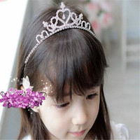 Wholesale Baby Crystal Crowns - Girls Tiaras Childrens Hair Crown Headband Accessories Delicate Princess Crystal Baby Ornaments Girls Tiaras Kids Hair Decoration DHL Free