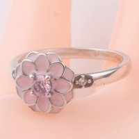 Wholesale Silver Thread Bracelet - 100% solid 925 sterling silver ring for european pandora thread bracelet AN28 pink enamel flower new rings fashion women gift jewelry