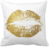 "Wholesale Lips Throw Pillows - Gold Glitter Lips #2 Throw Pillow Case, Squar Sofa Cushions Cover, ""16inch 18inch 20inch"", Pack of X"