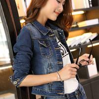 Wholesale Blue Jean Jacket Woman - New Fashion Spring Autumn Vintage Denim Jackets Women's Jeans Short Coat Ladies Jean Tops For Girls Outwear