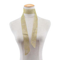 Wholesale Wholesale Rhinestone Necklace Scarf - New Long Crystal Choker Necklace Gold Black Rose Red Diamond Rehinstone Collar Summer Scarf for Women Jewelry 162073