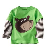Wholesale Designer Kids Shirt - Kids Tops Boys Long Sleeve T-shirts Designer Clothing Animal Appliques Kids T-shirts for Boy Sweatshirt Fashion Tees for Kids