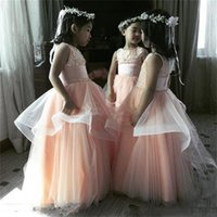 Wholesale Peplum For Kids - Gorgeous Tulle Lace Appliques Flower Girl Dresses For Wedding Crew Sleeveless Peplum Girls Pageant Gowns Kids Birthday Party Dress