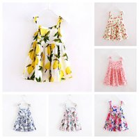 Wholesale Cute Dress Korea Girl - Everweekend Girls Cute Summer Cotton Dress Floral Print Sundress Bows Suspend Dress Korea Fashion Baby Dresses