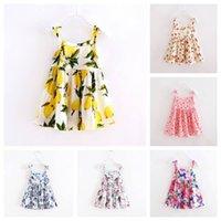 Wholesale Korea Summer Short Dress - Everweekend Girls Cute Summer Cotton Dress Floral Print Sundress Bows Suspend Dress Korea Fashion Baby Dresses
