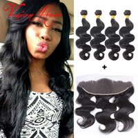 Top Body Wave Lace Frontal com Virgin Hair Bundle Deals Unprocessed 7a Brazilian Virgin Hair Black Melhor qualidade Hair Weaves Wholesale
