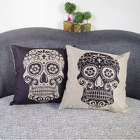 Wholesale Lit Sofa - Fashion skulls linen Pillow Cushion for leaning on Nordic contracted car nap fabric sofa cushion 5 color optional