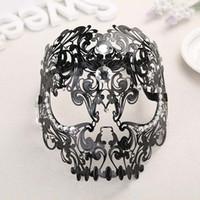 máscaras de rostro completo sexy al por mayor-Directo de fábrica de metal de alta calidad máscara de cara completa máscara de baile sexy modelo hueco máscara de hierro forjado