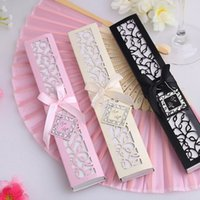 Wholesale Luxurious Silk Fold hand Fan in Elegant Laser Cut Gift Box Party Favors wedding baby shower Gifts fast shipping F2017530