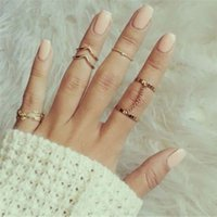 Wholesale unique style engagement rings - SHUANGR 2 Sets Per 6pcs Fashion Unique Style Gold plated Stacking Midi Finger Knuckle Rings Cute Leaf Ring Set For Women Girls