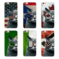 Wholesale Iphone 4s Back Cover Flag - Fashion Personality Flag Glasses Cat Clear Hard Plastic PC Cell Phone Case for iphone 8 7 6S Plus 5S 5C 4S Back Cover
