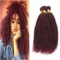 300g 99j Bourgogne Dark Red Red Remy Hair Bundles Afro Kinky Curly Top Quality Pure Indian Indian Virgin Weave Weft Extensions de trame