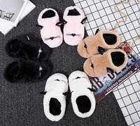 Wholesale Purple Cat Ears - Children plush slipper kids cute cat ear household shoes girls boys cartoon animal embroidery indoor floor non-slip slipper T0566
