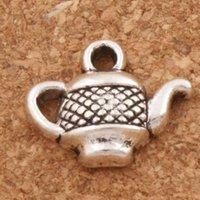 Wholesale Tea Charms Wholesale - Tea Pot Spacer Charm Beads 200pcs lot 12.7x15.6mm Antique Silver Pendants Alloy Handmade Jewelry DIY L405