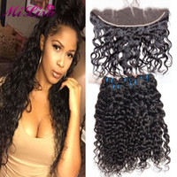Wholesale Wet Ears - Ear to Ear Lace Frontal Closure With Bundles 3 Bundles Brazilian Water Wave Virgin Hair With Closure Wet And Wavy Human Hair