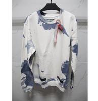 Wholesale Long Sleeve Spot - 2017 autumn winter off white women men new collection sweatshirts Blue Liquid Spots Blue Print long sleeve sweatshirt hoodie