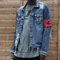Wholesale Hip Hop Clothes For Women - Wholesale- 424 Four Two Four Destroy Watering Mens Jacket High Street Hip Hop Denim Jacket For Men And Women Brand Clothing