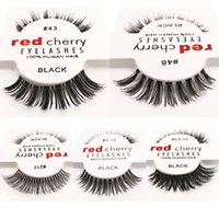Wholesale Red Black Hair Extensions - 12pcs lot 10 styles RED CHERRY False Eyelashes Fake Eye Lashes New Package long Makeup Beauty Tools Eyelash Extension