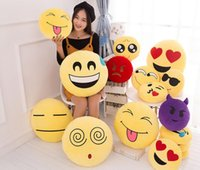 Wholesale 20 styles Diameter Cushion Cute Lovely Emoji Smiley Pillows Cartoon Cushion Pillows Yellow Round Pillow Stuffed Plush Toy EMS