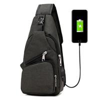 segeltuch-sling-taschen für männer großhandel-neue Männer Leinwand Brusttasche Outdoor Wandern Reise Crossbody Sling Schulter Rucksack mit integriertem USB-Lade Leinwand