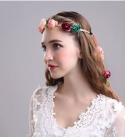 Lady Girls Bride Flower Headband Floral Head Wreath Femmes Beach Headband Floral Hair Garlands Bohemia Beach Flower HairBands BD047