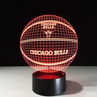 Wholesale Bulls Balls - 2017 Bull 3D Optical Illusion Lamp Night Light 7 RGB Lights DC 5V USB Charging AA Battery Dropshipping Free Shipping