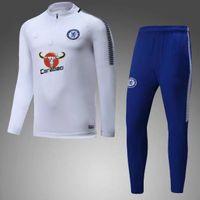 Wholesale Tights Whites - 17 18 Chelsea Survetement HAZARD MORATA training suit tracksuits tight pants 2017 2018 sportswear sports tracksuit