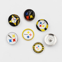 Wholesale Sports Team Jewelry - 5 Styles Football Team Snap Buttons 18MM Round Glass Pittsburgh Snap Charms Fit DIY Ginger Snap Jewelry