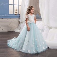 Wholesale Gown Dreses - Charming flower girl dreses,Princess Pageant Formal Party Ball Gown,Children Prom Dress,Weddings Bridesmaid Lace Dress TZ07
