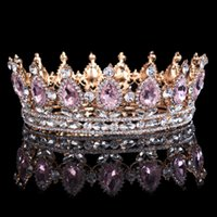 Wholesale Hair Accessories For Wigs - Hot Sale New Fashion Elegant Pink Crystal Bridal Crown Classic Gold Tiaras For Women Wedding Hair Jewelry Accessories